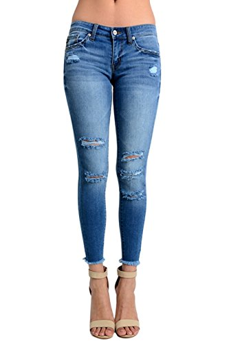 Kan Can Women's Low Rise Destroyed Skinny Jeans 11 Medium Denim KC7096HRM - Destroyed Low Rise Jeans