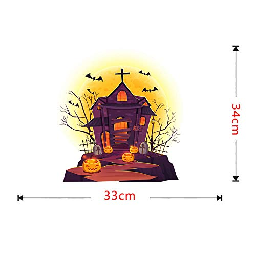 CYSDN Wall Sticker Sofa Background Paper_Ebay Halloween Decoration Haunted House Pumpkin Simple Living Room Sofa Background Paper self-Adhesive -TBW9012 ()