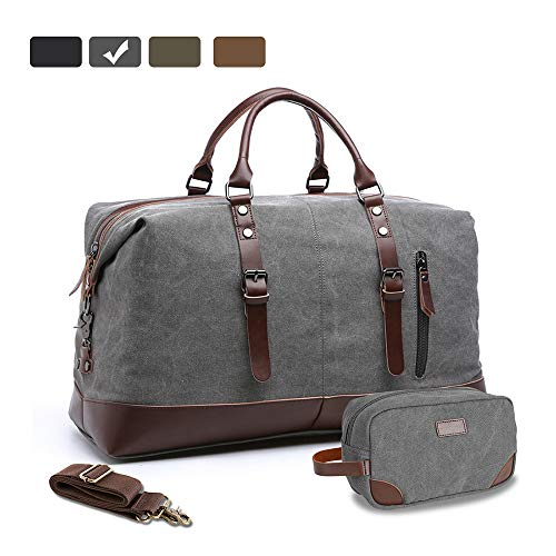 MAGE MALE Canvas Travel Duffel Bag PU Leather Weekend Bag Overnight Carry on Gym Tote Handbag Luggage with a Storage Pouch