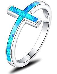Created Black Opal Christian Sideways Cross Ring 925 Sterling Silver