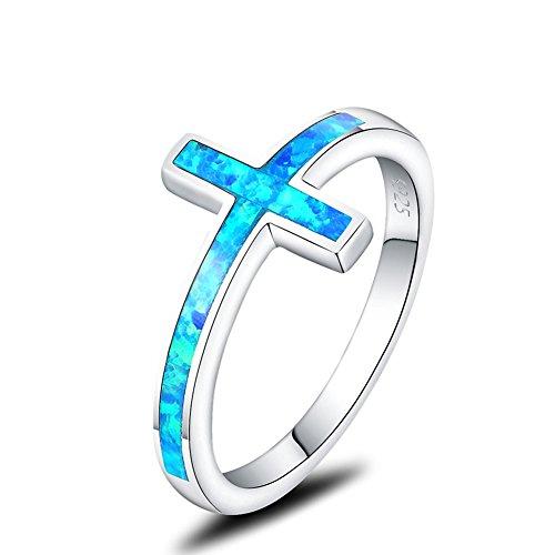 (Mozume Created Black Opal Christian Sideways Cross Ring 925 Sterling Silver)