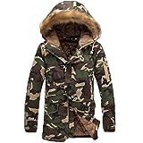 Huicai Abrigo con capucha de la manera de los pares largos del camuflaje clásico de los hombres Abrigo de camuflaje fresco