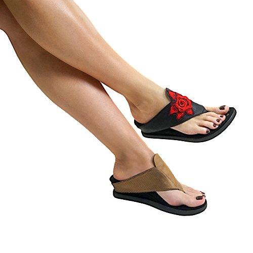 Reversible Women's Beige Modzori Sasha Black Sandal Low Wedge qR7HIBHTw