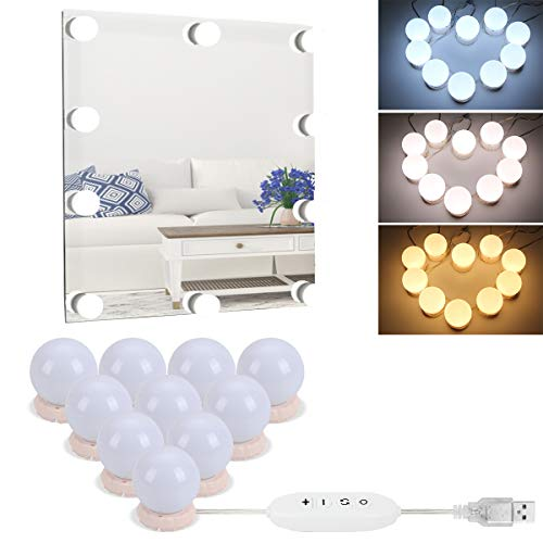 Mirror Lights,Hollywood Style LED Vanity Mirror Lights Kit with 10 Dimmable Bulbs,USB -