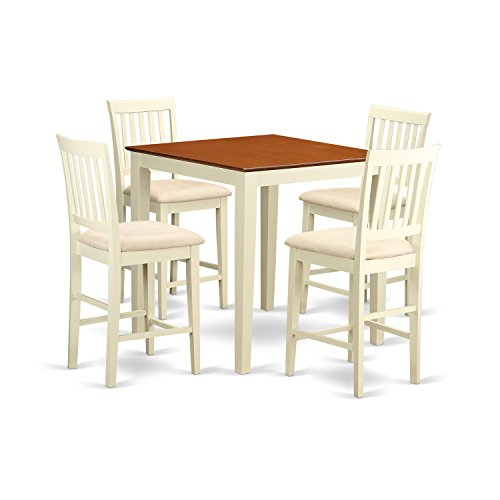 East West Furniture VERN5-WHI-C 5 Piece Counter Height Table and 4 Kitchen Chairs Set