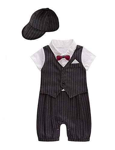 XM Nyan May's Baby Toddler Boys Bowtie Faux Vest Romper Onesie (3-6 Months, Black B) by XM Nyan