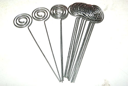 30/Pack Place Card Holder Pick,Swirl Wire Note Clip Holder Metal Silver (Swirl Picks)