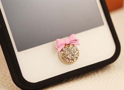 Big Mango Cute Pink Bow Round Iphone Home Return Key Button Sticker / Cell Phone Charms for Apple Iphone 5 5s 5c Iphone 4 4s Ipod Touch Ipad 2 iPad 3 iPad 4 iPad Air Tablet Replace Replacement