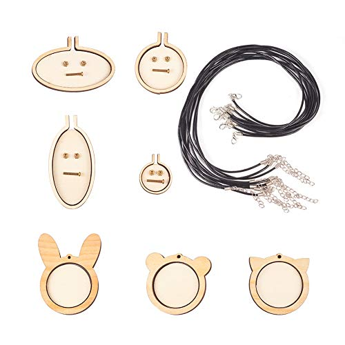 PH PandaHall 7 Sets Ring Embroidery Hoops Pendant Wooden Mini Cross Stitch Hoop Frame with 10pcs Necklace Making(17.7