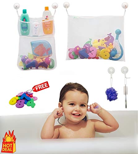 2 x Bath Toy Organizer + 6 Ultra Strong Suction Cups + Bonus Numbers & Shapes Bath Toys - The Perfect Bath Toy Holder Set For Kids, Toddlers & Adults - Bath Storage For Mold Free Toys