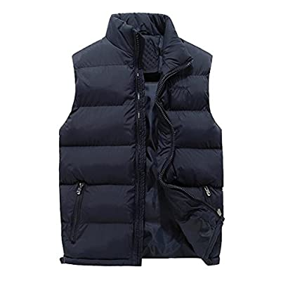 Nice Oberora-Men Winter Warm Solid Plus Size Sleeveless Down Quilted Puffer Vest for sale