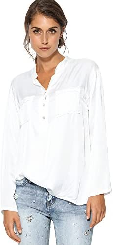 Blusa Cuello Mao y Escote en v Mujer by Vencastyle - 009661, Blanco, Unica: Amazon.es: Ropa y accesorios