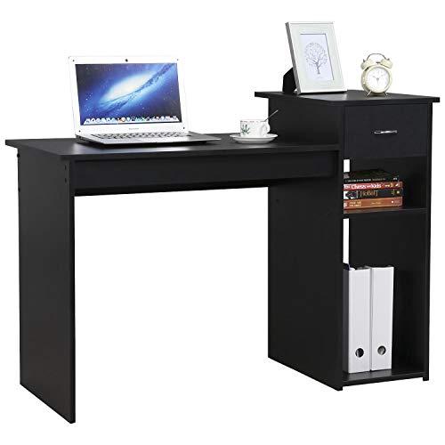 Yaheetech Escritorio de Ordenador Mesa para Computadora con Estante Mesa de Estudio para Oficina Hogar Negro