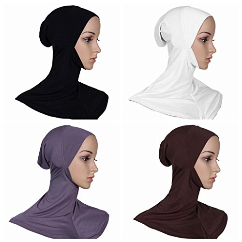 Ksweet 4pcs Full Cover Islamic Scarf Women Hijab Cap Bonnet Underscarves Elastic Hijab Turban Headwear Summer (Black+Grey+Light brown+White)