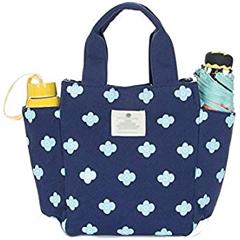 8fd268e717d9 Small Lunch Bag Box Tote Handbag with Water Bottle Holder for Women Mom  Snack Bag(Flower Print)