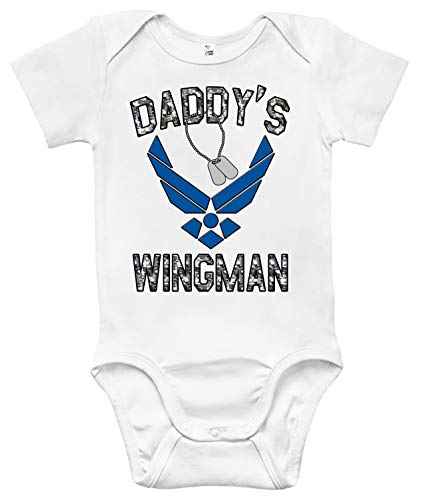 - Rapunzie Air Force Daddy's Wingman Baby Bodysuit Cute Baby Clothes for Boys and Girls (6-12 Months, White)