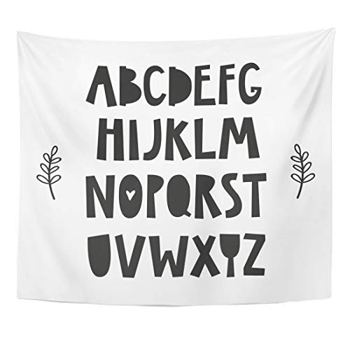 Emvency Tapestry Animal Black Nordic Alphabet for Baby Room The Wall Kids Interior Wear and White Nursery Avatar Home Decor Wall Hanging for Living Room Bedroom Dorm 50x60 Inches