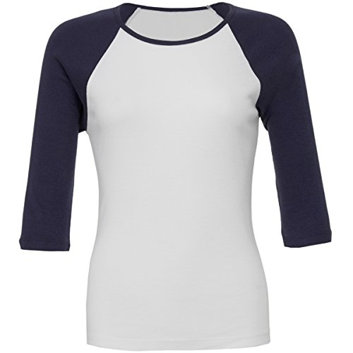 Baby rib ¾ sleeve contrast raglan t-shirt White / Navy L