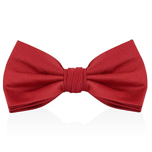 - Burgundy Red Wine Bow Ties For Men - Mens Woven Pre Tied Bowties For Men Bowtie Tuxedo Solid Color Formal Bow Tie