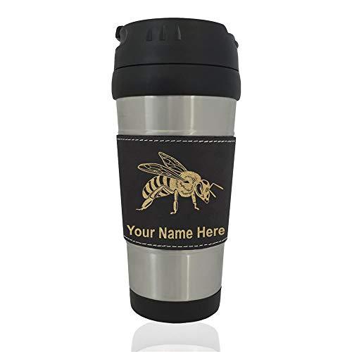 - Travel Mug, Honey Bee, Personalized Engraving Included (Black)
