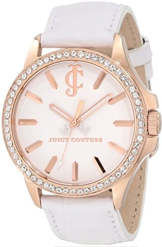 Couture Juicy Leather White - Juicy Couture Women's 1900968 Jetsetter White Leather Strap Watch