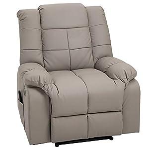 HOMCOM Fauteuil de Relaxation Électrique Fonction de Massage 8 Points Chauffant Fauteuil Inclinable Télécommande…