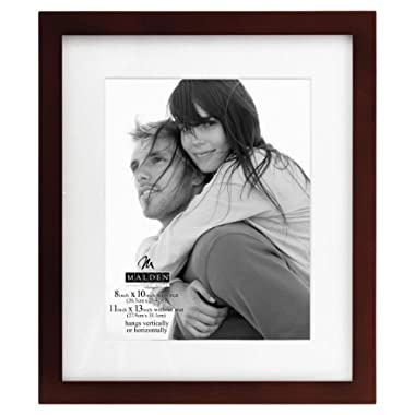 Malden International Designs Matted Linear Classic Wood Picture Frame, 8x10, Walnut