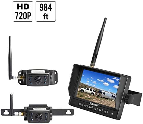 Haloview MC5111-2 Hitch Camera 5 LCD 720P HD Digital Wireless Backup Camera System Rear View Monitor and IP69K Waterproof Reversing Built in DVR Kit for Trucks Trailer Bus RVs Pickups Camper Vans