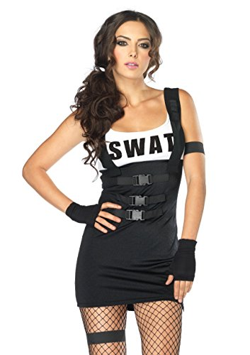 Leg Avenue Women's 4 Piece Sultry Swat Officer Costume, Black, Small/Medium -