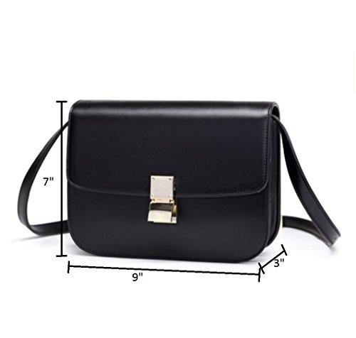 JeHouze Women's Leather Black Crossbody Handbag Messenger Genuine q4qnxrPFR