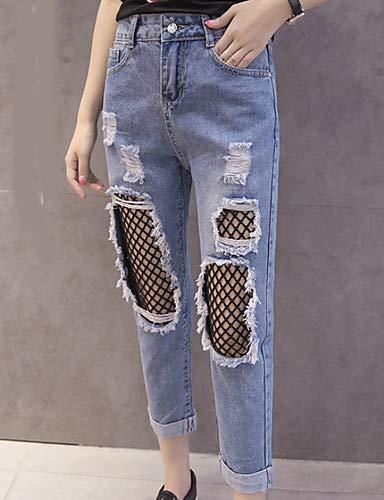 Blue Femme Trou De Pantalon Jeans Unie Hiver Couleur YFLTZ Sortir qBzOgEzw
