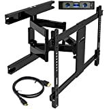 Everstone TV Wall Mount 37-70' TVs Dual Articulating Arm Tilt Swivel Full Motion Bracket Fit Most LED LCD and Plasma Flat Screen TVs Curved TV Up to VESA 600X400 125 LBS HDMI Cable and Level