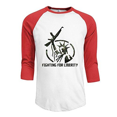 Men's Take Guns Fighting For Liberity 3/4 Sleeve Raglan T-Shirt