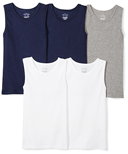 Moon and Back Toddler Set of 5 Organic Muscle Tanks, Navy Sea, -