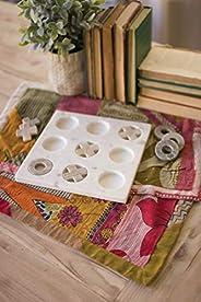 Kalalou Marble Tic-Tac-Toe, One Size, Off-White