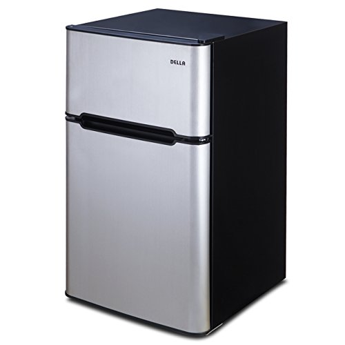 DELLA Compact 3.2 Cu Ft Fridge Mini Dorm Office Refrigerator Top-Freezer Cooler Double Door w/Drawer, Stainless Steel