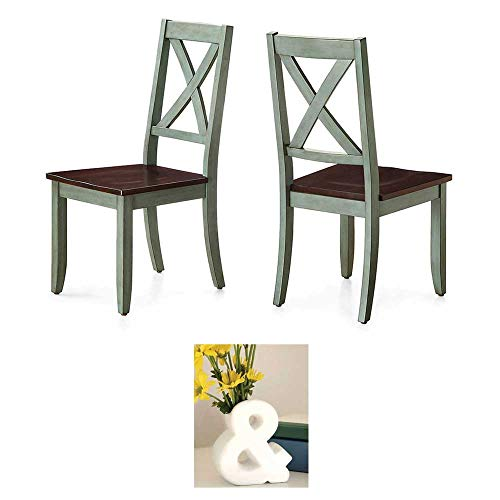Sturdy Better Homes and Gardens Maddox Crossing Dining Chair, Antique Sage, Set of 2 with Vase from Better Homes & Gardens