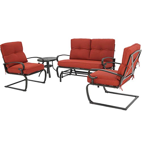 Oakmont Outdoor Furniture Patio Conversation Set Glider Loveseat, 2 Chairs with Coffee Table Spring Lounge Chair Sets Heavy-Duty Metal Frame(Red)