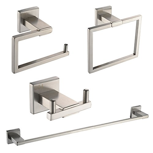 Bathroom Faucet Set Finish (KES SUS 304 Stainless Steel 4-Piece Bathroom Accessory Set RUSTPROOF Including Towel Bar Toilet Paper Holder Towel Ring Double Robe Hook Wall Mount Contemporary Square Style, Brushed Finish, LA242-42)
