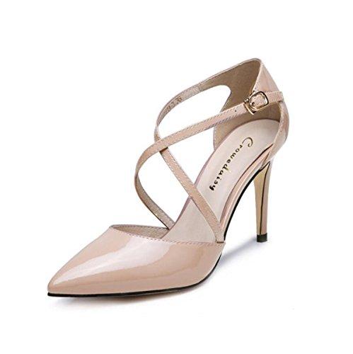 De Mujer Correas Sandalias Cuero Cruzadas Zapatos De De Las Talones GRRONG NudeColor Altos Sandalias EqBnvxS