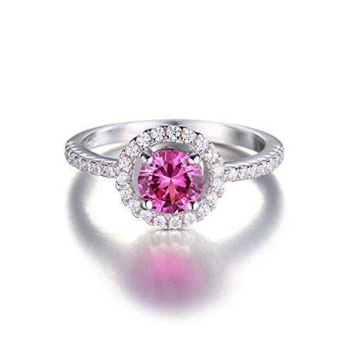 JewelryPalace 1.36ct Magnifique Bague Femme en Argent Sterling 925 en Rosé d'Alexandrie de Synthèse