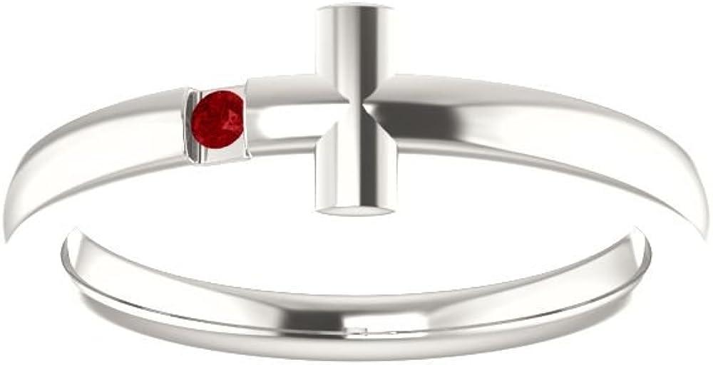 Bonyak Jewelry Sterling Silver Imitation Ruby Youth Cross Ring Size 3