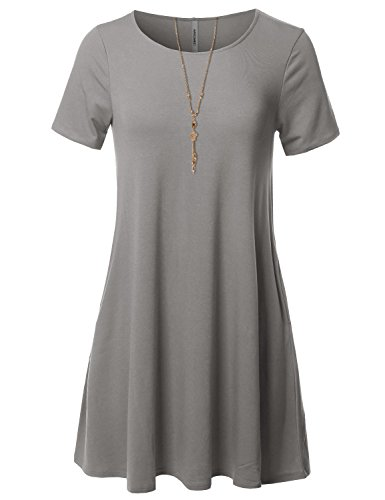 Loose Tunic Dress Aawdrs0007 Heather Medium Short Grey Casual Fit Awesome21 Sleeve Women's Stretchy x4wTZIZq