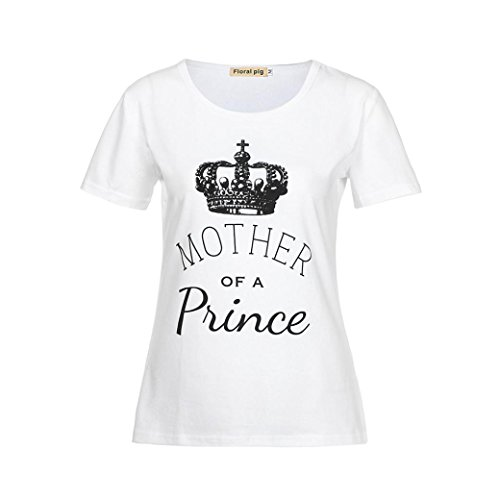 Price comparison product image FEITONG MomMe Crown Letter Print Tops Tshirt/Romper Jumpsuit Family Outfits Clothes (White Women, S)