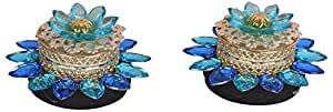Ashiana Diwali Special! 2 in 1 Blue Tea light or candle and LED Floating Flower Diya (pair)