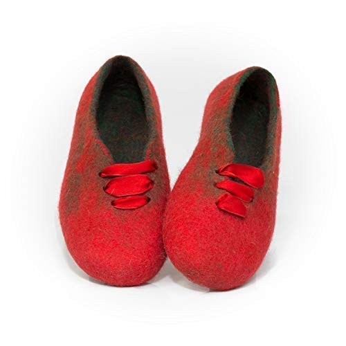 49100b682680d Amazon.com: BureBure red women slippers from natural wool with silk ...