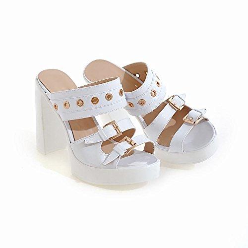 Mee Shoes Damen chunky heels Plateau Slingback Pantoletten Weiß