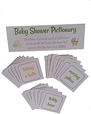 Amazon Baby Shower Pictionary Party Game With 33 Game Cards