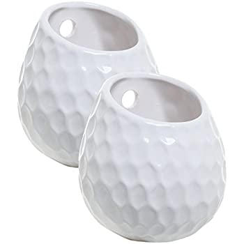 Set of 2 Golf Ball Inspired White Small Freestanding / Wall Mounted Ceramic Decor Plant Display Vase Pots