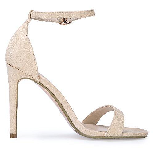 IDIFU Slim Open Sandal HI Women's High Stiletto Nude Suede IN4 Strap Heel Toe Ankle HrwqrE